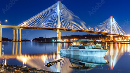Spoed Foto op Canvas Canada Port Mann Bridge, long exposure in a bright night. Vancouver, British Columbia, Canada.