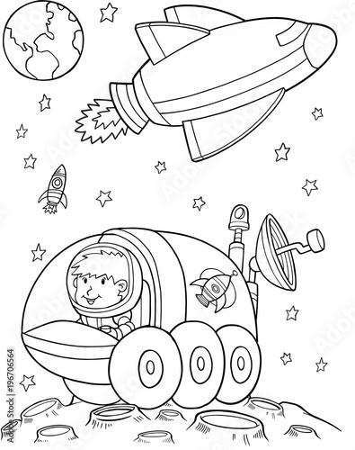 Poster Cartoon draw Outer Space Vector Illustration Art