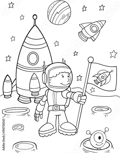 Cute Astronaut Space Vector Illustration Art