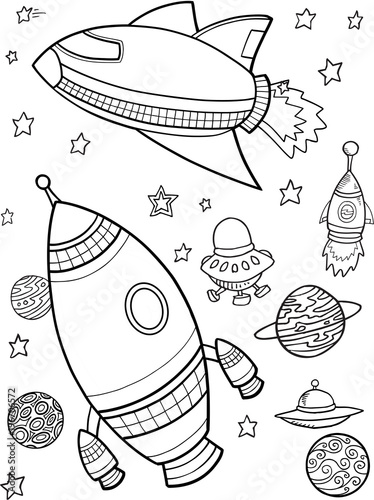 Cute Outer Space Rockets Vector Illustration Art