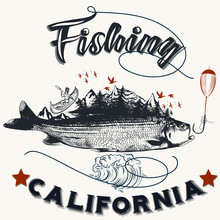 Fishing In California Hand Drawn Poster With Fish