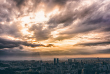 Crepuscular Rays In Taipei Sunset Skyline, Taiwan