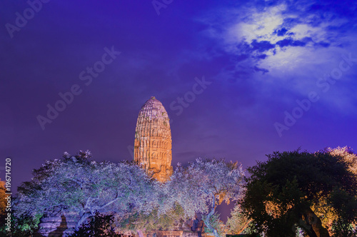 Poster Violet Thailand Ayutthaya Wat phra ram night
