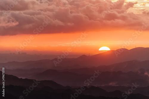 Foto op Aluminium Bergen Taipei sunset skyline, Taiwan
