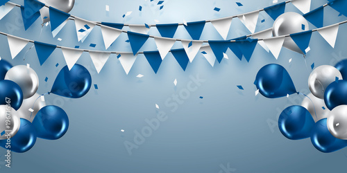 Fotografía  celebration background with garland flag,balloons and confetti in party and enjoyment concept