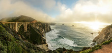 A Sweeping Panoramic View Of Bixby Bridge, Along The Big Sur Coast In Northern California.