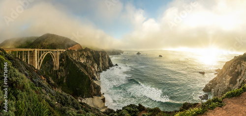 Printed kitchen splashbacks Beige A sweeping panoramic view of Bixby bridge, along the Big Sur coast in northern California.