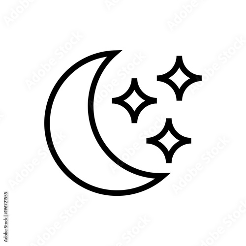 Moon And Stars Outlined Vector Icon Outlined Symbol Of Space Body