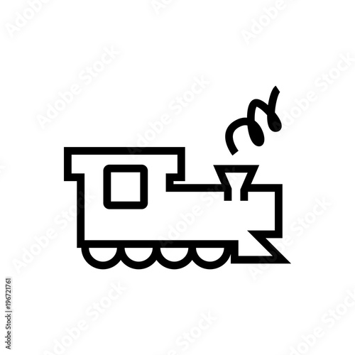Locomotive Outlined Vector Icon Outlined Symbol Of Tran With Steam