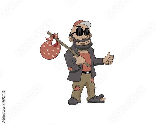 Hobo character 1 with glasses Canvas Print