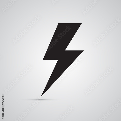 Silhouette Flat Icon Simple Vector Design Lightning For