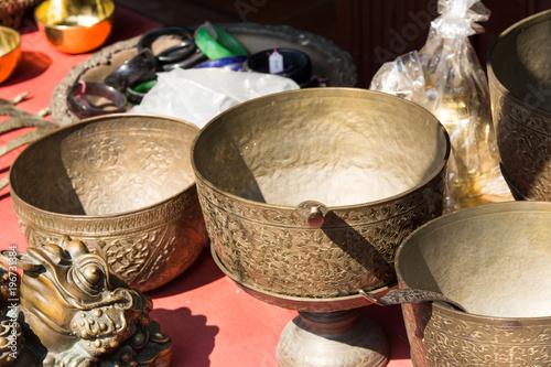 Fotobehang Zuivelproducten Traditional Brass ware at asian market