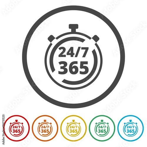 Fényképezés  Open 24/7 - 365, 24/7 365, 24/7 365 sign, 6 Colors Included