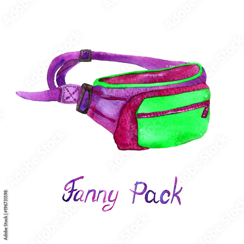 Fotografía  Fanny (Belt) Pack type of bag in green, purple, red colors palette, hand painted