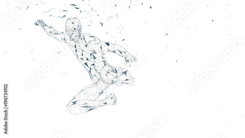 Fotografia  Conceptual abstract man jumping in kung fu kick