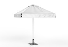 Promotional Aluminum Sun Pop Up Parasol Umbrella  For Advertising. 3d Rending Illustration.