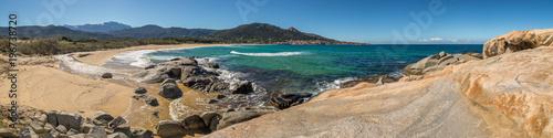 Valokuva  Panoramic view of Algajola beach and village in Corsica