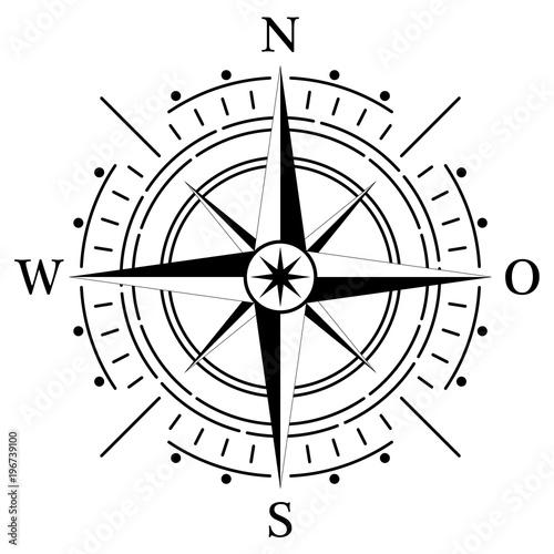 Fotografie, Obraz  Kompass rose für Marine- oder Seefahrt und geographische Karten mit allen wichtigen Windrichtungen auf einem isolierten weißen Hintergrund als Vektor in eps oder ai