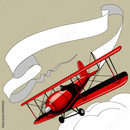Retro red airplane with the ribbon banner in the sky Wallpaper Mural