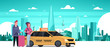 Passengers Couple Order Yellow Taxi Service Sit In Car Cab Over Silhouette City Background Flat Vector Illustration