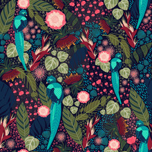 Tropical Floral Pattern With Blue Bird On A Dark Background