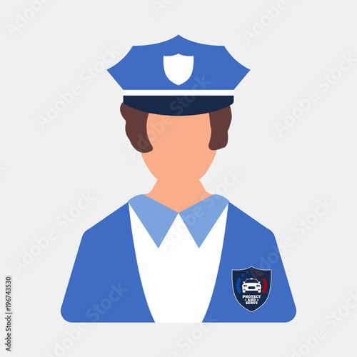 Foto op Aluminium Pixel Police worker icon. Woman worker. Cartoon style. Vector Illustration