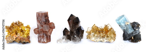 A row of five crystal clusters; Mimetite, Aragonite, Smoky Quartz, Barite (Baryte) and Aquamarine with Tourmaline Canvas Print