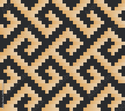 Poster Pixel Vector seamless pattern. Modern stylish abstract texture. Repeating geometric tiles from striped elements.