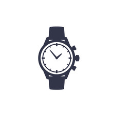 Watch Vector Icon Isolated On White