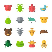 Icon Animals With Squirrel, Rat, Cow, Octobus And Cockroach