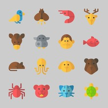Icons About Animals With Bird, Monkey, Fish, Cat, Octobus And Bear
