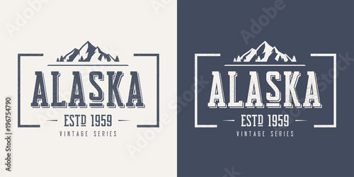 Alaska state textured vintage vector t-shirt and apparel design, Canvas Print