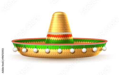 Fotografie, Obraz  Vector sombrero 3d mexican hat cinco de mayo