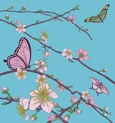 Naklejka Na szklane drzwi i okna Cherry Peach Blossom Tree Flowers and Butterflies