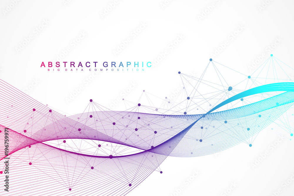 Fototapety, obrazy: Geometric abstract background with connected lines and dots. Wave flow. Molecule and communication background. Graphic background for your design. Vector illustration.