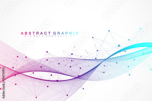 Fotografia  Geometric abstract background with connected lines and dots