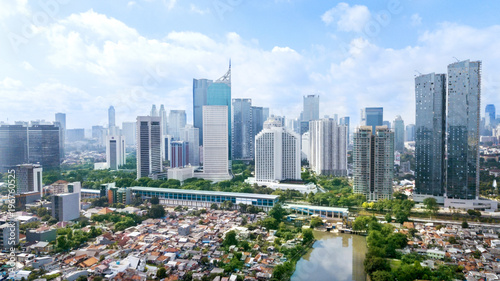 Panoramic view of Jakarta cityscape at sunny day