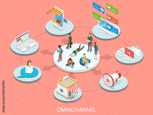 Omnichannel flat isometric vector concept Canvas Print