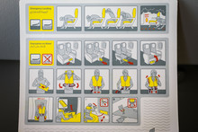 Emergency Landing And Evacuation On Water Sign On Safety Instructions Card In Airplane