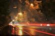 light trails on rainy night
