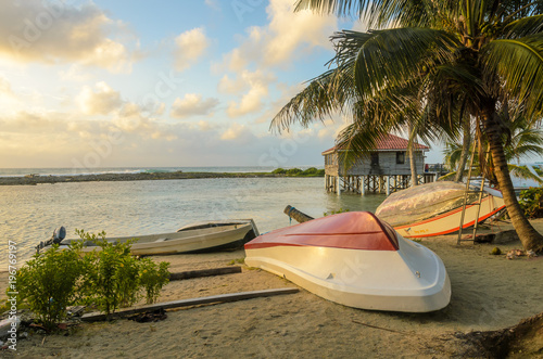 Tobacco Caye - Small tropical island at Barrier Reef with paradise beach, Caribb Wallpaper Mural
