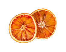 Two Dried Orange Slices Isolated On White Background.