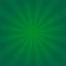 Vintage Sun Poster Green Background For St. Patrick's Day Design Or Greeting Card. Radial Element Pattern Backdrop. Sunburst Or Starburst. Sunlight Placard. Vector Illustration