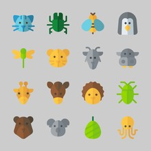 Icons About Animals With Wasp, Cat, Giraffe, Bear, Dragonfly And Octobus