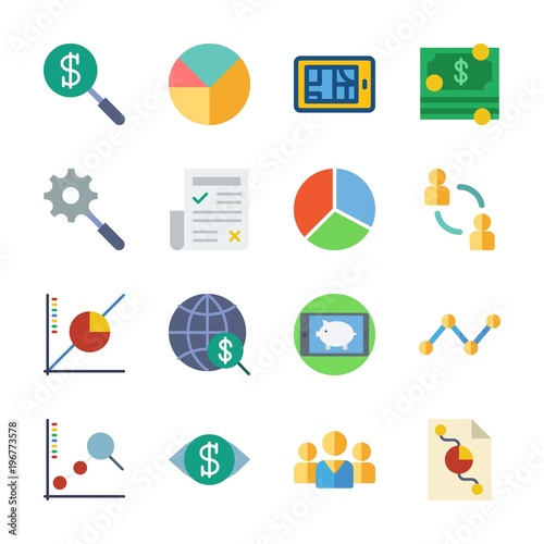 Icon Marketing With Internet Line Graph Newspaper Pie Chart And