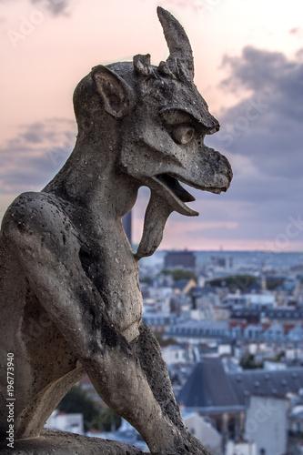 Gargoyle on Notre Dame In Paris at sunset