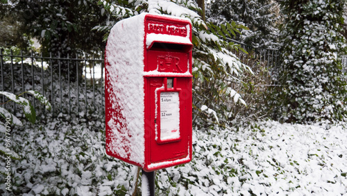 Post Box in the snow Wallpaper Mural