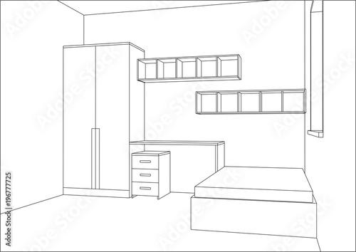 3d Vector Illustration Modern Kids Bedroom Furniture Design