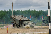 Tyumen, Russia - August 6, 2017: International Army Games. Safe Route Contest. Motion Of The Mechanized Bridge From TMM Set