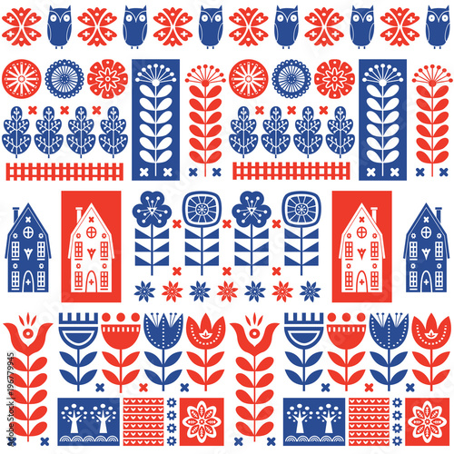 Scandinavian folk art seamless vector pattern with flowers, trees, rabbit, owl, Fototapeta